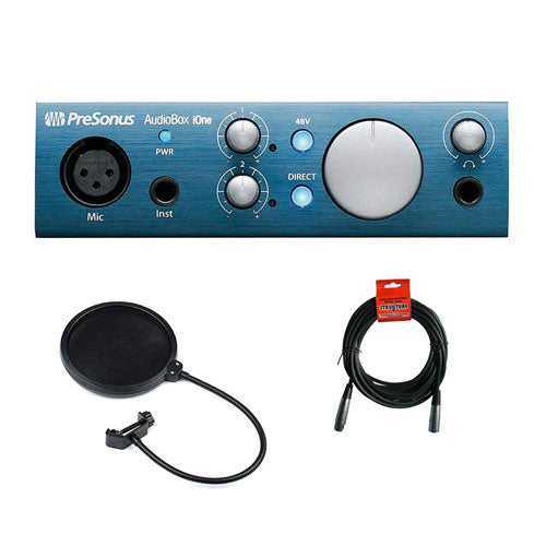 PreSonus AudioBox iOne USB 2.0 & iPad Recording Interface with XLR-XLR Cable and Pop Filter