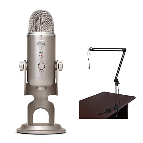 Blue Yeti USB Microphone (Platinum) with BAI-2U Two-Section Broadcast Arm plus Internal Springs & USB Cable Bundle