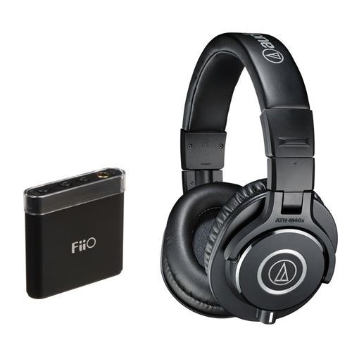 Audio-Technica ATH-M40x Monitor Headphones (Black) with FiiO A1 Portable Headphone Amp