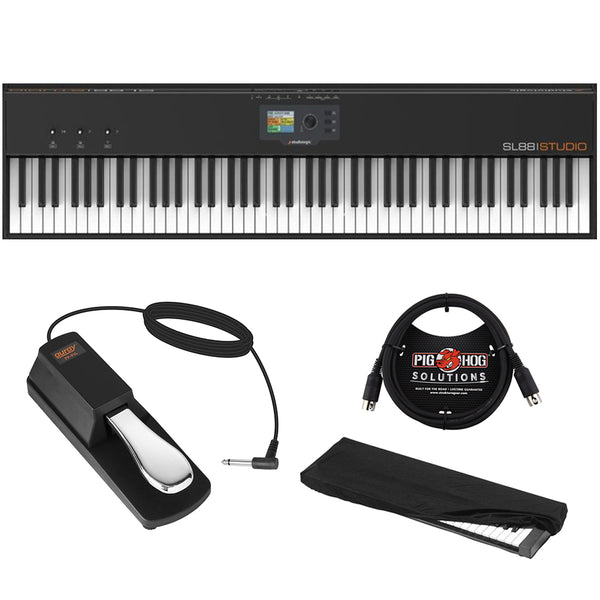 StudioLogic SL88 Studio 88-Key USB/MIDI Keyboard Controller with FP-P1L Sustain Pedal, Keyboard Dust Cover (Large) & 6ft MIDI Cable Bundle