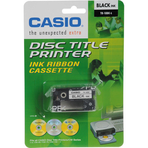 Casio TR-18BK Ribbon (Black) for Casio Disc Title Printers CARTCW50B