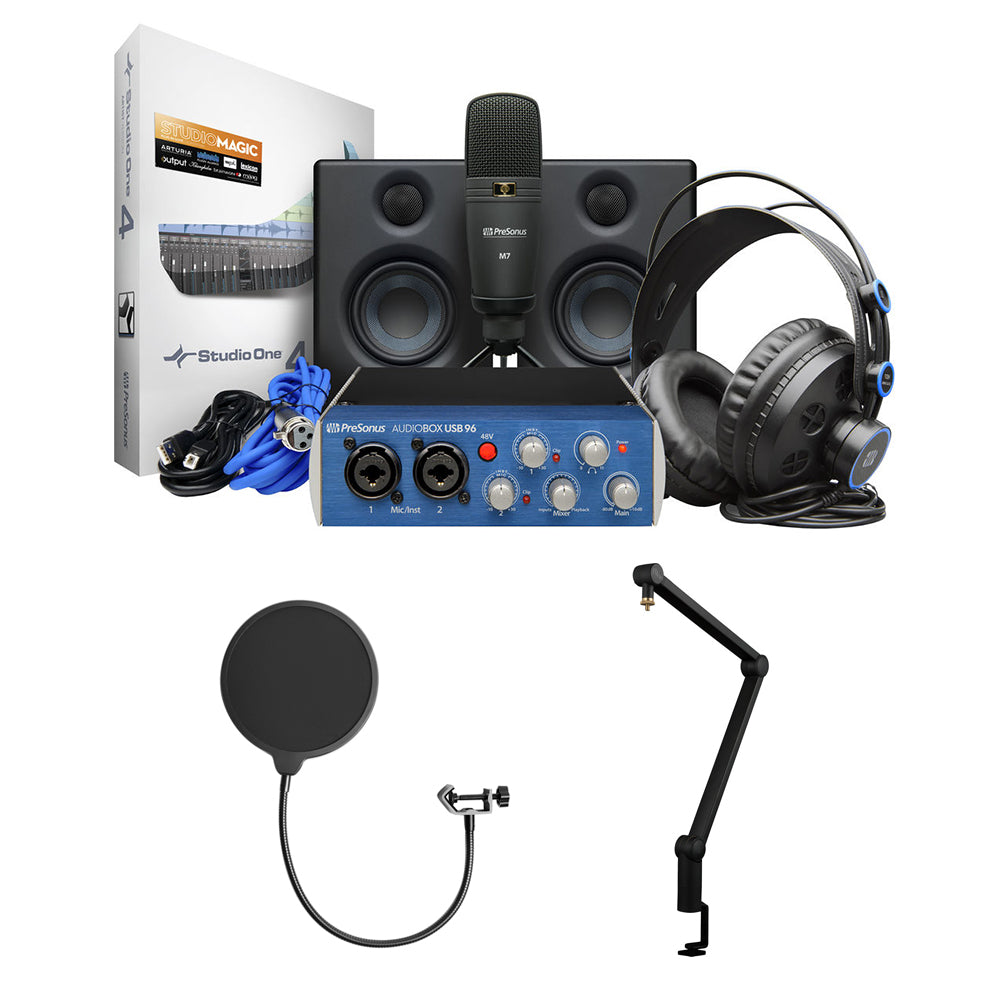 PreSonus AudioBox Studio Ultimate Bundle Deluxe Hardware/Software Recording  Kit with Blue Compass Boom Arm & Kellopy Pop Filter Bundle