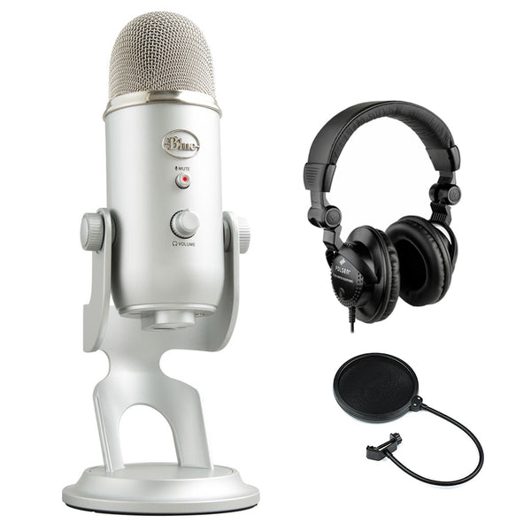 Blue Yeti Podcaster Kit with USB Microphone, Hindenburg DAW, Polsen HPC-A30 Monitor Headphones & Pop Filter Bundle