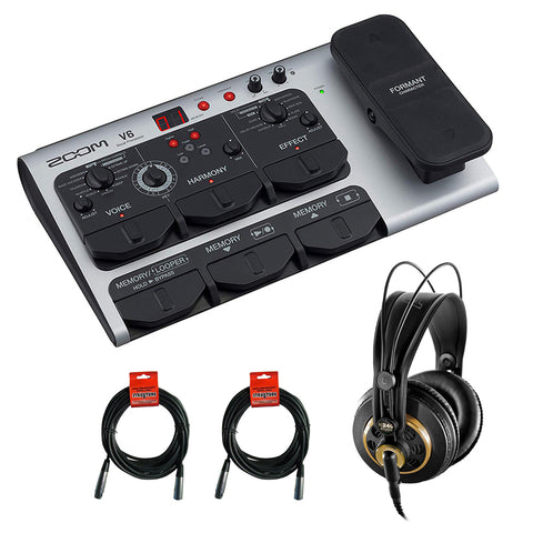 Zoom V6 Vocal Effects Processor with AKG K 240 Studio Pro Stereo Headphone & 2x XLR Cable Bundle