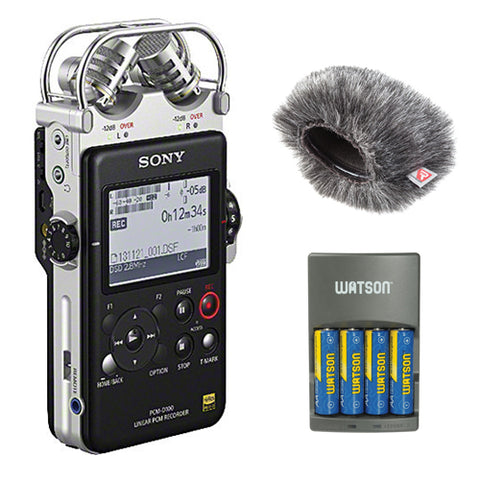 Sony PCM-D100 High Resolution Portable Stereo Recorder with 4-Hour Rapid Charger,(4) AA Rechargeable Batteries and Mini Windjammer for Sony PCM-D100 Recorder