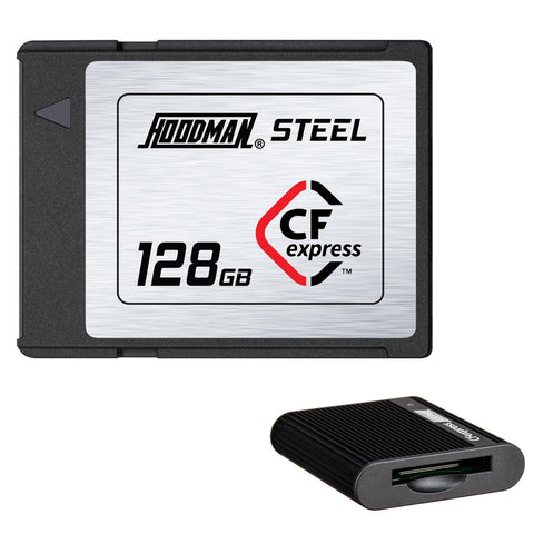 Hoodman 128GB Steel CFexpress Memory Card Bundle with CFexpress Type B Card Reader