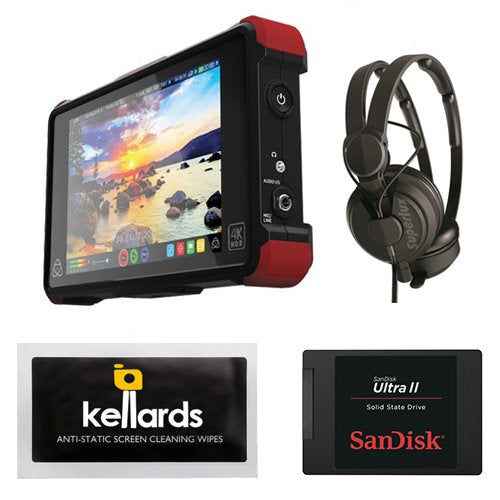 "Atomos Ninja Flame 7"" 4K HDMI Recording Monitor Bundle With SanDisk Ultra II 240GB Solid State Drive and Polsen HPC-A30 Studio Monitor Headphones"