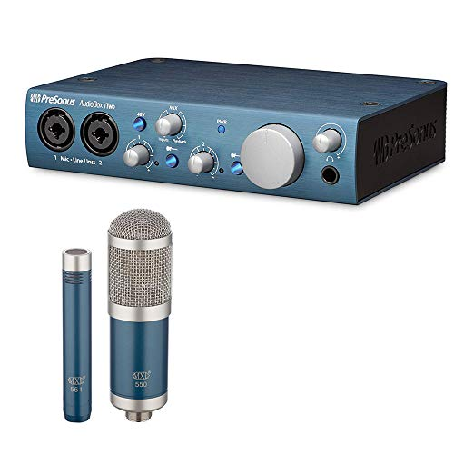 PreSonus AudioBox iTwo USB 2.0 Recording Interface with MXL 550/551 Microphone Ensemble Kit (Blue) Bundle