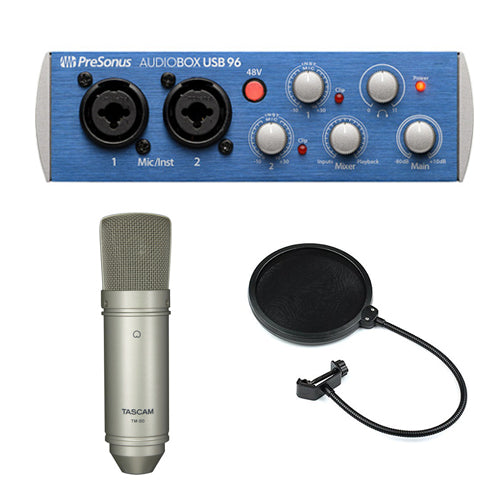 PreSonus AudioBox 96 USB 2.0 Audio Recording Interface with Studio Condenser Microphone and Pop Filter