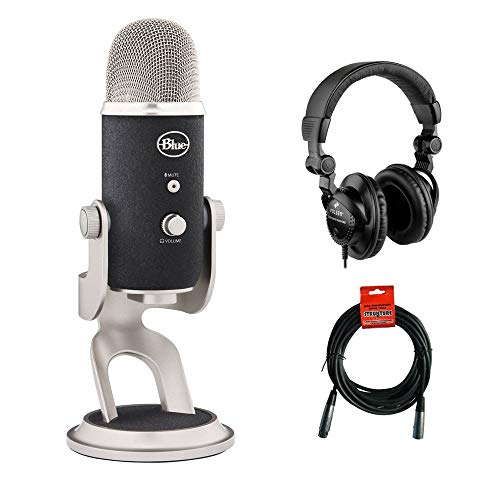 Blue Yeti Pro USB & XLR Microphone with HPC-A30 Studio Monitor Headphones and XLR 20' Cable Bundle