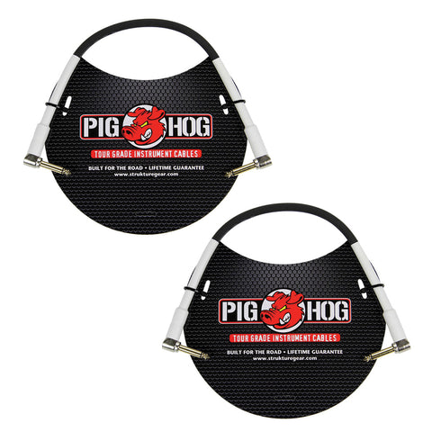 "Pig Hog PH1RR High Performance 8mm 1/4"" Guitar Instrument Cable, 1 Foot (2-Pack)"