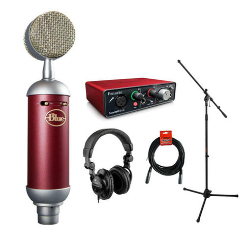 Blue Spark SL Large-Diaphragm Studio Condenser Microphone with Focusrite Scarlett Solo Audio Interface, HPC-A30 Monitor Headphone, Mic Stand, XLR-XLR Cable Bundle