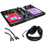 Hercules P32 DJ Controller with High Performance Pads, R100 Stereo Headphones & 2 RCA Male Audio Cable (3') Bundle