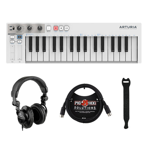 Arturia KeyStep Controller/Sequencer with HPC-A30 Studio Monitor Headphones, 6ft MIDI Cable & Touch Fastener Straps (10-Pack) Bundle