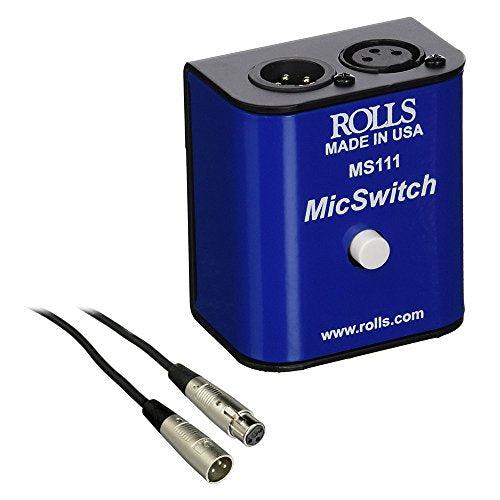 Rolls MS111 Mic Switch Latching or Momentary Microphone Mute Switch with SM Series XLR Microphone Cable -6'