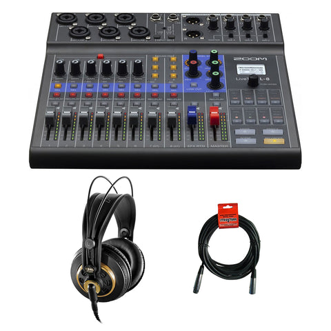 Zoom LiveTrak L-8 Portable 8-Channel Digital Mixer/Recorder with AKG K 240 Studio Pro Headphones & XLR Cable Bundle