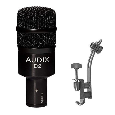 Audix D2 Dynamic Instrument Microphone with DM50 Drum Rim Microphone Clip Bundle