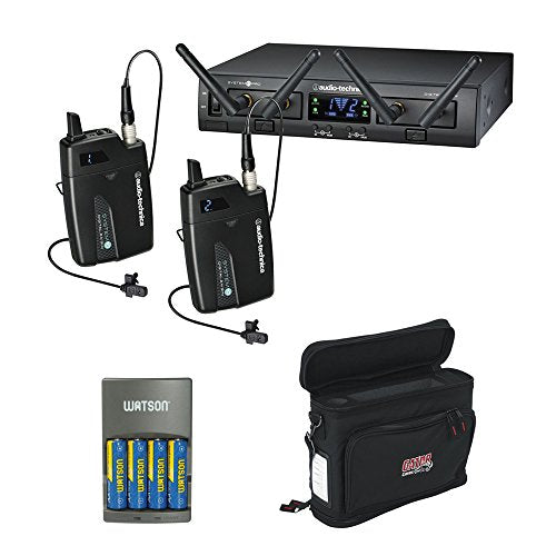 Audio-Technica ATW-1311L System 10 PRO Rack-Mount Digital Dual Lavalier Mic System (2.4 GHz) with GM-1W Wireless Mobile Pack & 4-Hour Rapid Charger Kit