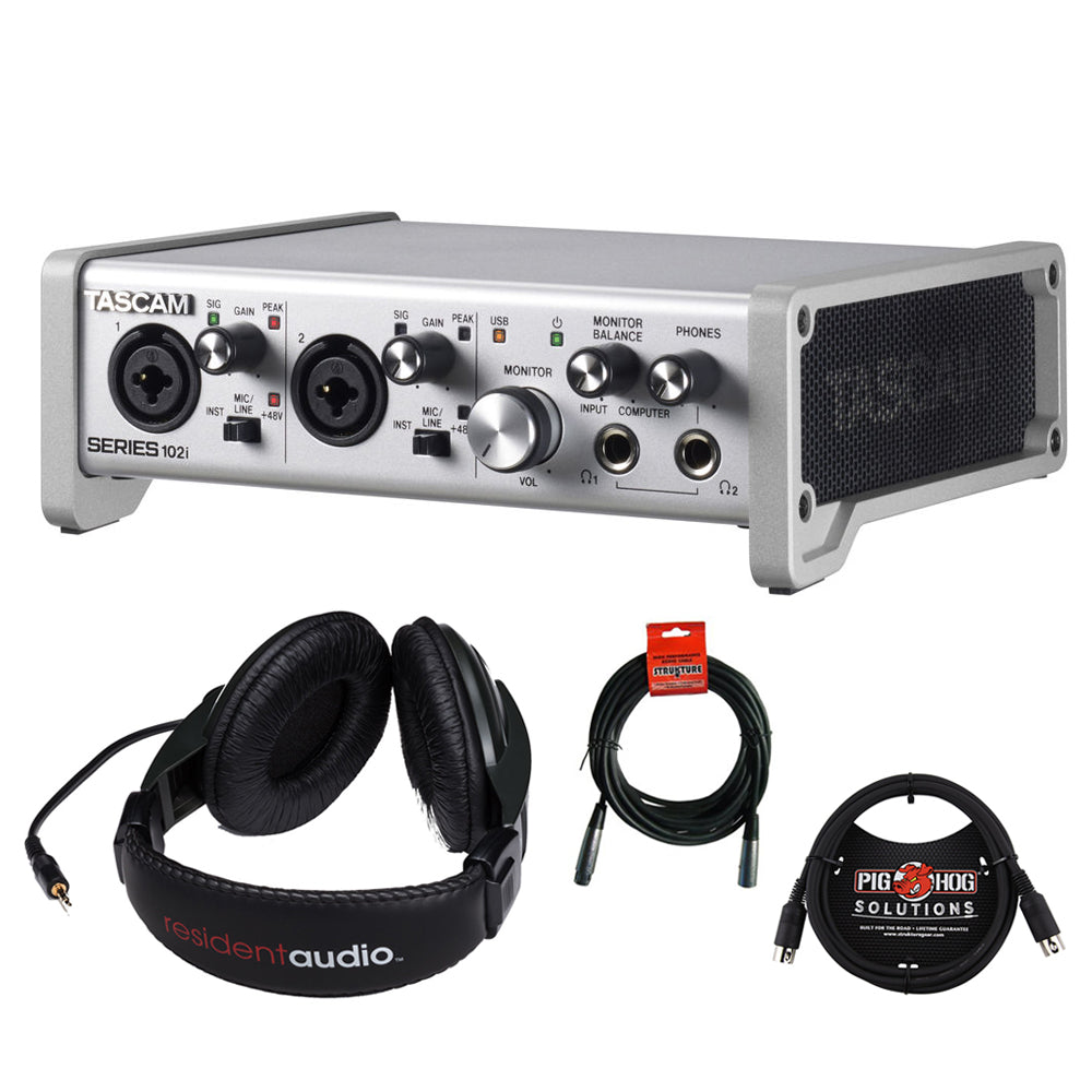 Tascam SERIES 102i USB Audio/MIDI Interface with R100 Stereo Headphones,  6ft MIDI Cable & XLR Cable Bundle