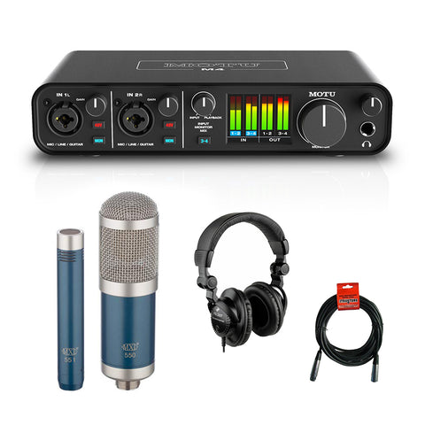 Motu M4 4x4 USB Audio Interface with MXL 550/551R Microphone (Blue), HPC-A30 Studio Monitor Headphones & XLR Cable Bundle