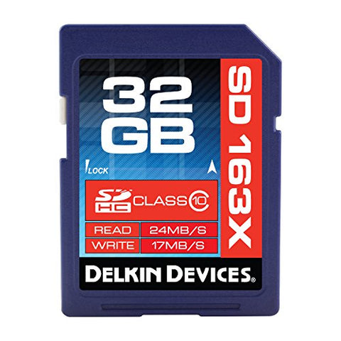 Delkin 32 GB Secure Digital (SD) PRO Class 10 163X Memory Card DDSDPRO3-32GB
