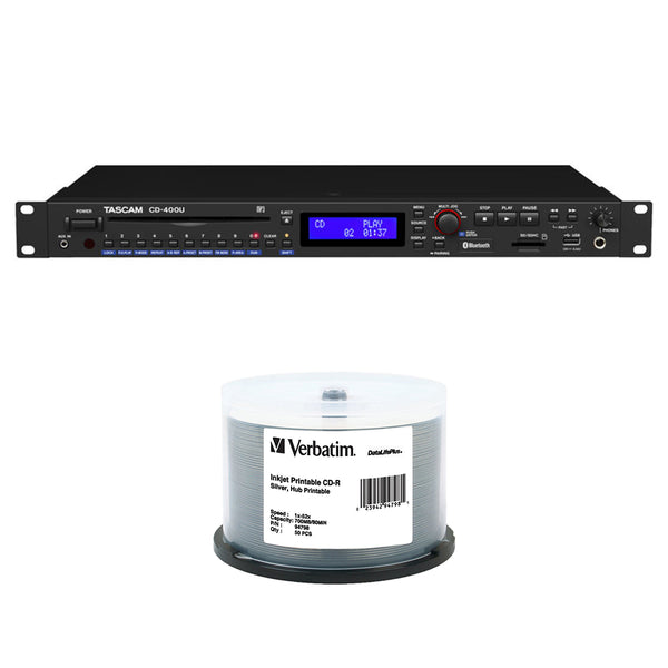 Tascam CD-400U CD/SD/USB Player with Bluetooth and AM/FM Tuner Bundle with 50pck of CD-R 700MB 52x Write Once DataLifePlus Slver