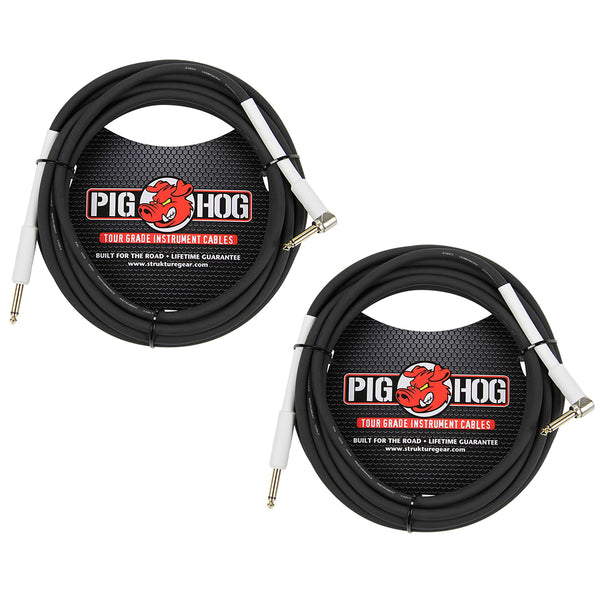 Pig HOG 18.6' Feet High Performance Instrument Cable Black, Straight-Angeled (2-Pack)