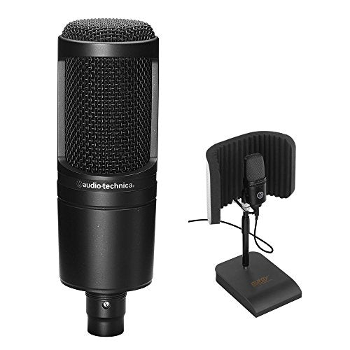 Audio-Technica AT2020 Cardioid Condenser Microphone with RFDT-128 Desktop Reflection Filter and Mic Stand