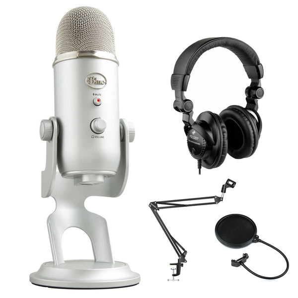 Blue Yeti Podcaster Kit with USB Microphone & Hindenburg DAW + Polsen HPC-A30 Headphones, Suspension Boom & Pop Filter Bundle