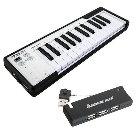 Arturia MicroLab Compact USB-MIDI Controller (Black) with IOGEAR 4-Port USB 2.0 Hub Bundle