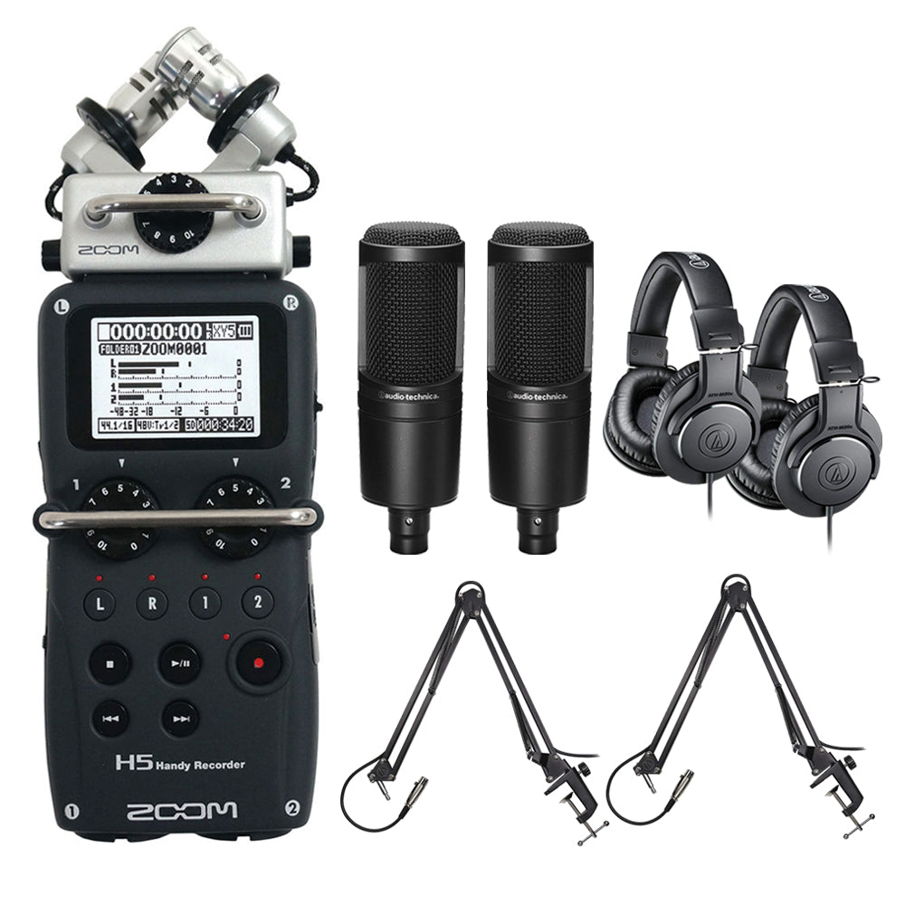 Zoom H5 Recorder Podcast Kit with 2X Audio-Technica AT2020 Studio  Microphone Bundle