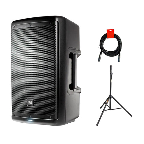 "JBL EON610 Two-Way 10"" 1000W Powered Portable PA Speaker- Bluetooth Control with Speaker Stand & XLR Cable Bundle"