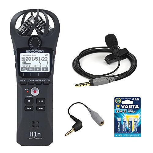 Zoom H1n Digital Handy Recorder (Black) with Rode smartLav+ Condenser Microphone, SC3 3.5mm TRRS-TRS Adapter and AAA Battery (4-Pack)
