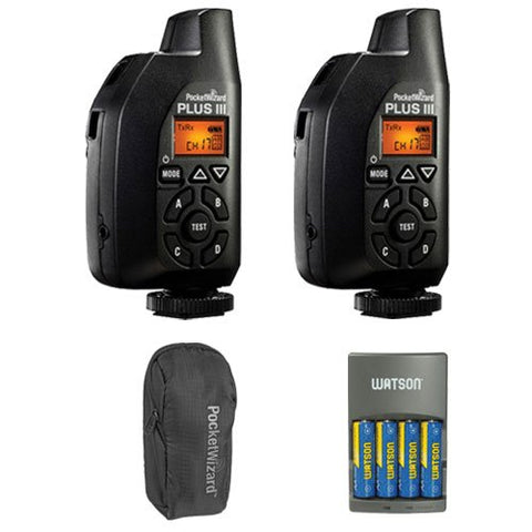 PocketWizard 801-130 Plus III Transceiver 2 Pack w/ Case, Charger & 4 AA Battery
