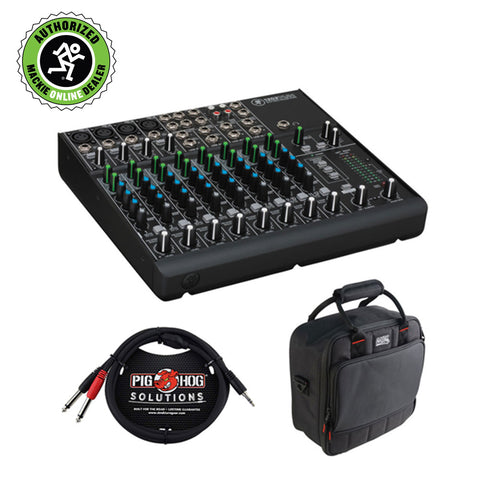 Mackie 1202VLZ4 12-Channel Compact Mixer with G-MIXERBAG-1212 Padded Nylon Mixer Bag & PB-S3410 3.5 mm Stereo Breakout Cable, 10 feet Bundle