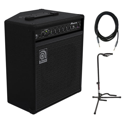 Ampeg BA-110V2 30W 1/X10 Combo Bass Amplifier with SC10W 10-Feet Instrument Cable, 6mm Woven & XCG-4 Classic Guitar Stand Bundle