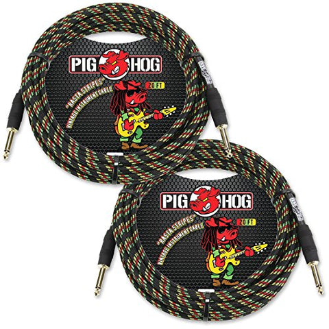 "2-Pack Pig Hog PCH20RA ""Rasta Stripes"" Vintage Instrument Cable, 20ft"