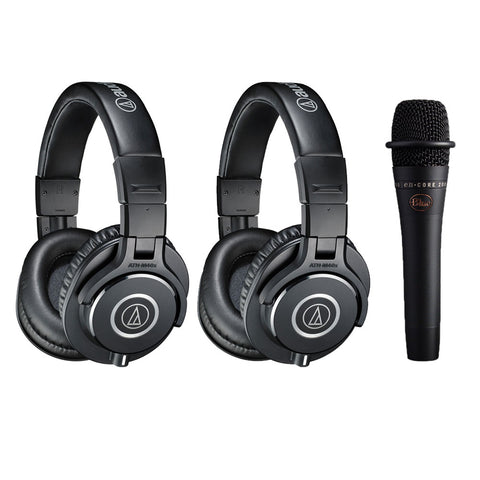 Audio-Technica ATH-M40x Monitor Headphones Black, (2-Pieces) with Blue enCORE 200 Microphone Bundle