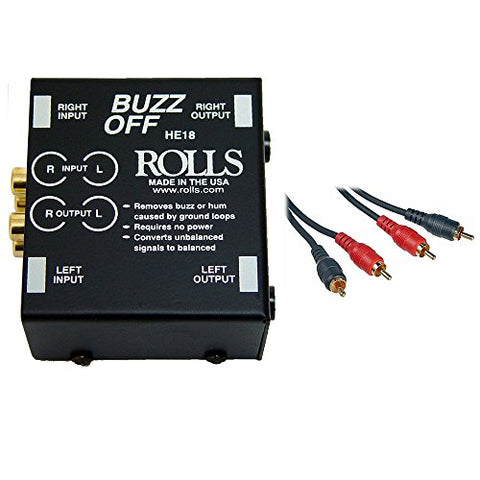 Rolls HE18 Buzz Off 2-Channel Hum and Buzz Remover with 2 RCA Male to 2 RCA Male Dual Audio Cable 3'