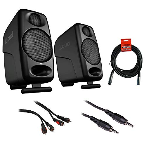 IK Multimedia iLoud Micro Monitors (Pair, Black) with RCA Male to Male Audio Cable 6', Mini Male Cable 10' & 20' XLR Cable Bundle