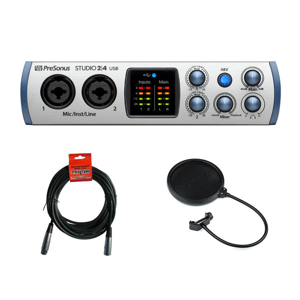 PreSonus Studio 2|4 USB Audio Interface with 20' XLR Cable & Pop Filter Bundle