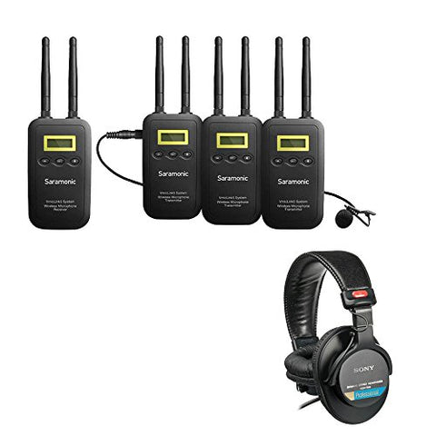 Saramonic VmicLink5 5.8 GHz SHF Three Microphone Wireless Lavalier and Receiver System with Sony MDR-7506 Headphones