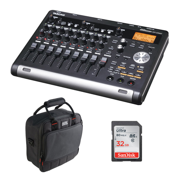 Tascam DP-03SD Digital Portastudio 8-Track Recorder with G-MIXERBAG-1212 Mixer Bag & 32GB Memory Card Bundle