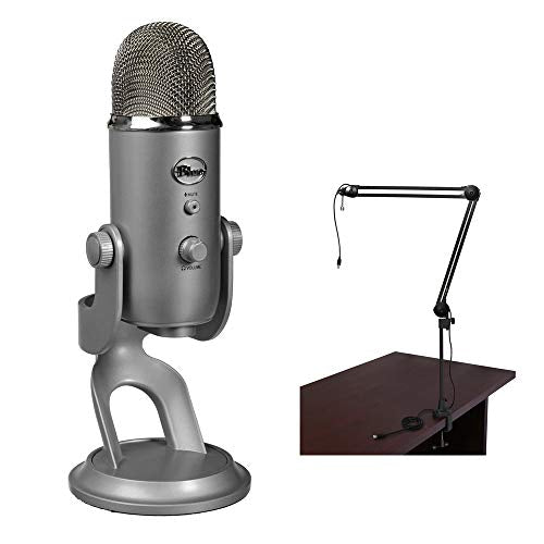 Blue Yeti USB Microphone (Silver) with BAI-2U Two-Section Broadcast Arm plus Internal Springs & USB Cable Bundle