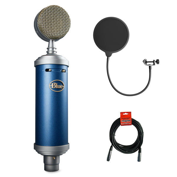 Blue Bluebird SL Large-Diaphragm Condenser Studio Microphone with Kellopy Pop Filter & XLR Cable Bundle