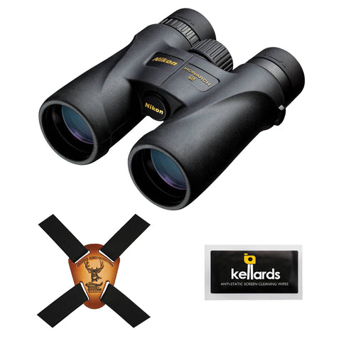 Nikon 10x42 Monarch 5 Binocular (Black) with Crooked Horn Binocular Harness & Screen Cleaning Wipes 5-Pack Bundle