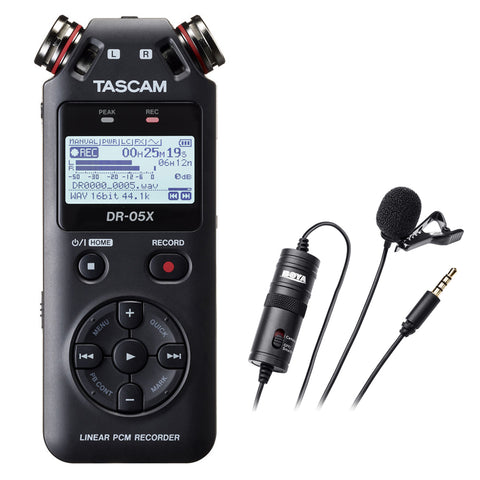 Tascam DR-05X Stereo Handheld Digital Audio Recorder with Boya BY-M1 Omni Directional Lavalier Microphone Bundle