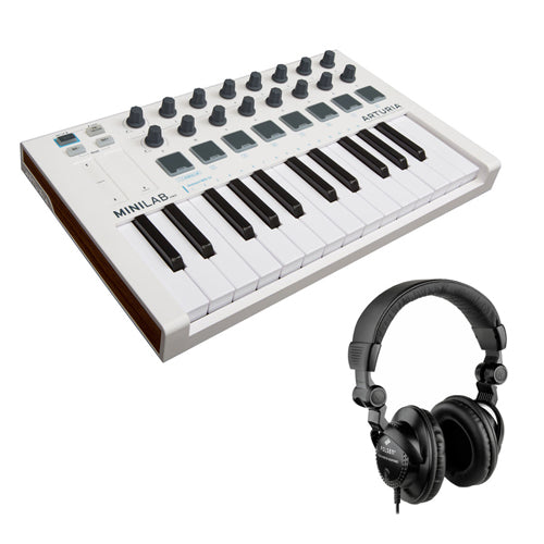 Arturia MiniLab Mk II Portable USB-MIDI Controller with HPC-A30 Closed-Back Studio Monitor Headphones Bundle