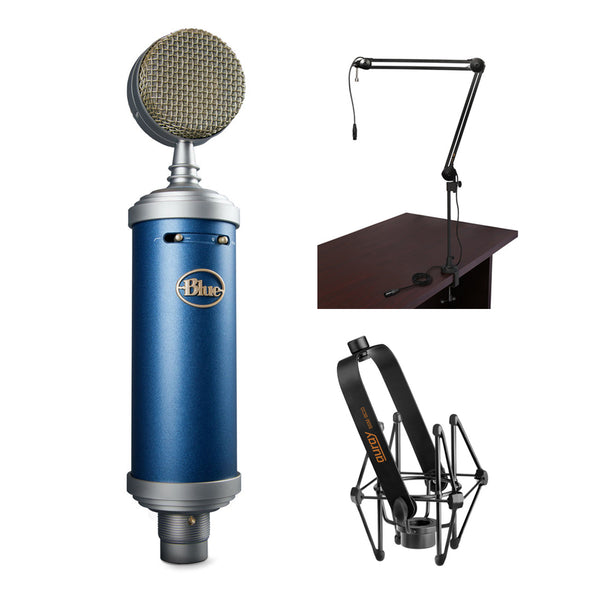 Blue Bluebird SL Large-Diaphragm Condenser Studio Microphone with BAI-2X Two-Section Broadcast Arm & SSM-BC10 Microphone Shockmount Bundle