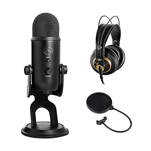 Blue Yeti USB Microphone (Blackout) with AKG K 240 Studio Professional Stereo Headphones & Pop Filter Bundle